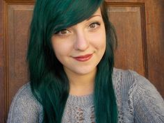 blueish green hair. :) manic panic enchanted forest. ♥ it