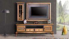 Romance Vintage Tv Ünitesi - Home Decoraiton Vintage Tv, Romance Vintage, Tv Cabinet Design, Tv Wall Design, Tv Unit Design, Tv Unit Bedroom, Wood Tv Unit, Lcd Units, Tv Wall Decor