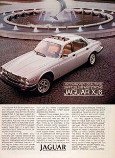 1983 Jaguar XJ6 Sedan original vintage advertisement. Uncommonly beautiful, swift, silent and strong.