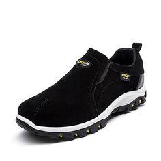 Men Hiking Suede Breathable Slip Resistant Slip On Outdoor Sneakers