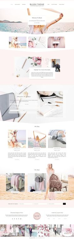 Blush - Feminine Genesis Theme by Paper Lotus on @creativemarket | Blush is a beautiful everything theme designed to be flexible, powerful and elegant all at the same time. It's packed with custom features like 5 custom blog layouts, a flexible widgetized home page and gorgeous animated portfolio or gallery page. | #blog #Wordpress #theme #template #feminine #blush #rose #pink #fashion #lifestyle #blogger #shop #ecommerce *affiliate