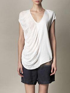 RAQUEL ALLEGRA Shredded short-sleeve T-shirt