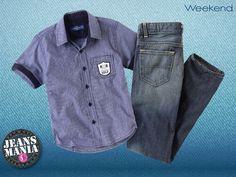 ¡Esta #Jeansmanía, es para que los pequeños luzcan guapísimos! Vístelos con este look #Weekend de jeans y camisa en chambray, ¡estarán listos para un día de diversión!