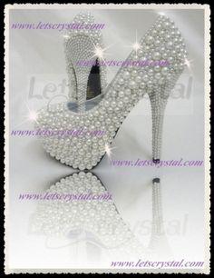 My Wedding Shoe Letspearl0004w--wedding White Pearl High Heel Pump, 62% off | Recycled Bride