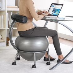 FitBALL Balance Ball Chair at Brookstone—Buy Now! from Brookstone. Saved to Things I want as gifts. Ball Chair, Cool Ideas, Cool Stuff, Random Stuff, Cool Gadgets, Things I Want, Awesome Things, Awesome Food, Arredamento