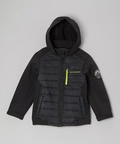 Take a look at this Black & Lime Insulated Soft Shell Puffer Coat - Boys by Weatherproof on #zulily today!