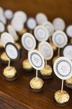 Love these chocolate escort cards at this modern summer wedding wedding favors Bright, Modern Summer Wedding Wedding Favor Table, Wedding Favours, Wedding Tables, Wedding Invitations, Party Tables, Wedding Seating, Party Favors, Summer Wedding, Diy Wedding
