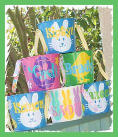 Easter buckets have arrived! Have already placed Mac& order. Vinyl Crafts, Vinyl Projects, Easter Projects, Easter Ideas, Easter Buckets, Basket Crafts, Hoppy Easter, Silhouette Cameo Projects, Egg Hunt