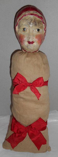 Estatesale Just Terrific A Original French Poupard Swaddle Baby Ext RARE .C1880 . poupard doll
