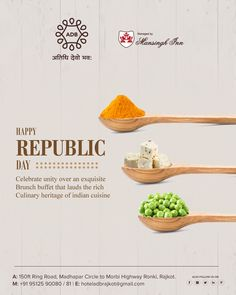 Happy Republic Day, Celebrate unity over an exquisite Brunch buffet that lauds the rich Culinary heritage of indian cuisine.  #holifestival #party #Rajkot #elegance #love #luxury #tyohar #follow #indian #facilities #Rooms_Suites #festival #amazing #beautiful #creative #royal #rooms #madhapar #greetings #colors #natural #party #Banquets #PartyLawns #Restaurants #food #ADB #Atithidevobhava #hotel Food Menu Design, Food Poster Design, Ads Creative, Creative Advertising, New Year's Eve Flyer, Independence Day Photos, Pamphlet Design, Republic Day India, Independance Day
