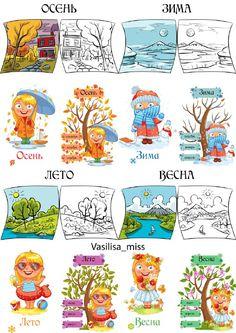 Подборка тематических картинок для изучения времён года и месяцев