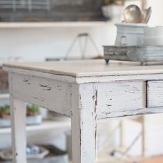 Miss Mustard Seed Milk Paint contains only 5 ingredients and is offered in 25 colors rich with depth & character. Miss Mustard Seed Milk Paint and Online Tutorials are available here at Lost & Found, your one-stop shop for paint and online workshops. Hand Painted Furniture, Repurposed Furniture, Shabby Chic Furniture, Wood Furniture, Painted Wood, Blue Distressed Furniture, Refinished Furniture, Diy Furniture Projects, Furniture Makeover