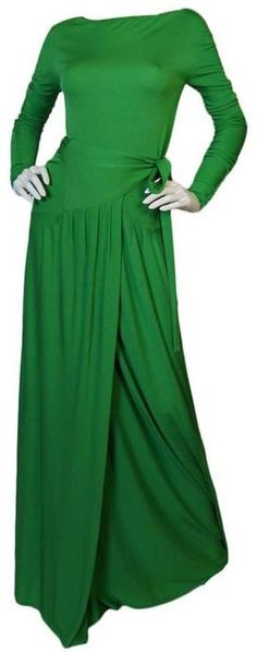 Dress, Geoffrey Beene, 1970s.... not too far off from the green DVF that Kate Middleton wears from time to time