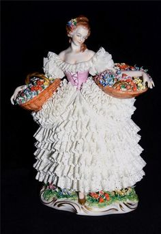 Antique Dresden Lace Lady Figurine with Baskets Sitzendorf Germany Porcelain | eBay
