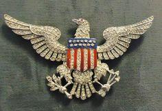 American Eagle TRIFARI Enamel & Rhinestones Brooch