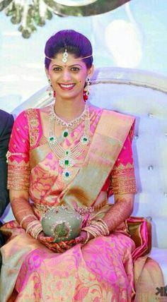 Telugu Bride in pink pattu saree.......