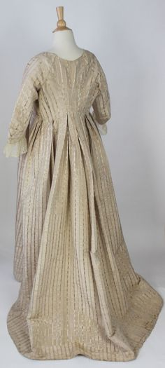 Met Museum Unusual Gown White Moire Polychrome Floral Stripes America C 1795 | eBay
