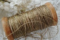 1y Antique French Ombre Silk Gold Metal by VintageCottageFinds