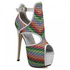 """Trendy Rainbow Color and Stiletto Heel Design Peep Toe Shoes For Women. Colors: Colormix. Size: 37, 38, 39. SKU:… #Vivoren #Fashion"
