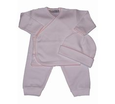 White 3 Piece Layette Set with Pink Picot Trim