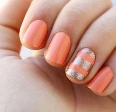 Nails  coral glitter stripe
