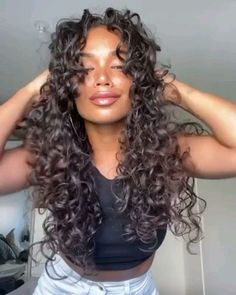 Curly Hair Styles, Natural Hair Styles, Curly Hair Layers, Curly Medium Length Hair, Curly Hair With Fringe, Long Curly Weave, Curly Light Brown Hair, Big Hair Curls, Long Curly Bob