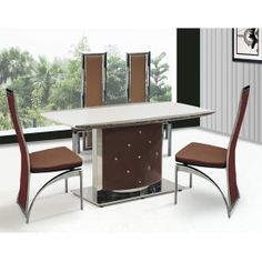High Quality Ambrose Brown Marble Dining Table With 4 Brown Dining Chairs