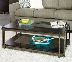Hammary Bruno Rectangular Cocktail Table with Steel Base - Faux Crocodile - Coffee Tables at Hayneedle