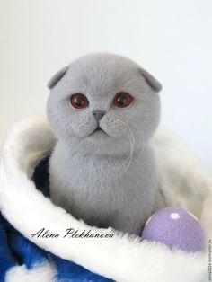 Купить Lu - серый, котенок, котенок из шерсти, котенок игрушка, котик, кот, кошка, подарок