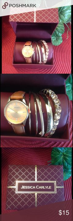 🆕🌟Watch with Gold Bracelets🌟 Never removed from box. Great condition. Bracelets all in tact and no show of tarnish. Jessica Carlyle Accessories Watches