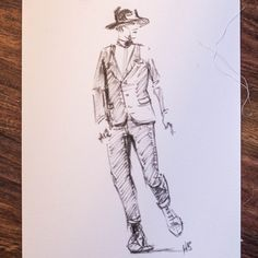 boss of the plains hat and suit - brushmarker on watercolor paper - hilbrand bos