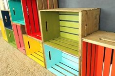 colorful wooden crates | via olga barber