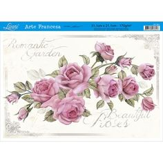 Papel para Arte Francesa Litoarte 21 x 31 cm - Modelo AF-261 Rosas - CasaDaArte