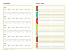 Free Printable Chore Charts. 9 Designs to Choose From: Daily/Weekly Chore Chart