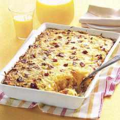 Amish Breakfast Casserole Recipe -We enjoyed hearty breakfast casseroles during a visit to an Amish inn. When I asked for the recipe, one of the ladies told me the ingredients right off the top of her head. I modified it to create this version my family loves. Try breakfast sausage in place of bacon. —Beth Notaro, Kokomo, Indiana