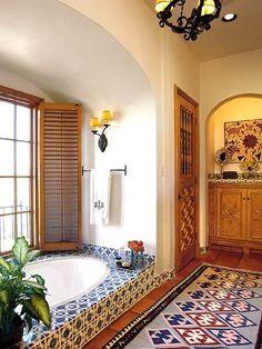Spanish style homes – Mediterranean Home Decor Spanish Bathroom, Spanish Style Bathrooms, Spanish Style Homes, Mediterranean Bathroom, Spanish Colonial, Mediterranean Style, Mexican Style Homes, Spanish Tile, Spanish Revival