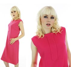 60s Shift Dress Vintage Mod Wool Bright Pink by neonthreadsdesigns