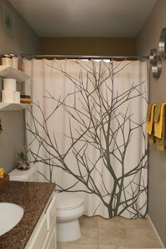 Plain Colorful Tree Shower Curtain Contemporary Apartment Love How The Curtains Throughout Design Decorating