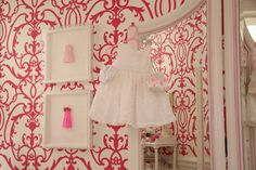 Patricia Halpin Interiors - nurseries - white, pink, damask, wallpaper, white, floor mirror,  Adorable white & pink girls nursery design with