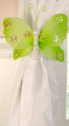 Nylon Butterfly Curtain Tieback - Green Isabella (Sold Individually)