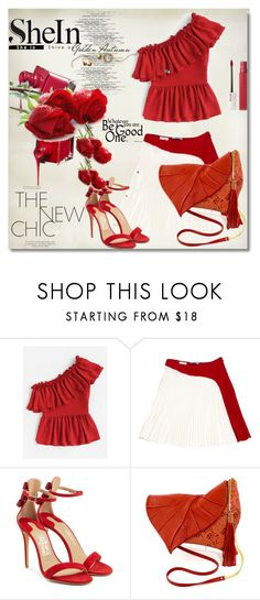 """SheIn"" by nelly-melachrinos ❤ liked on Polyvore featuring Prada, Salvatore Ferragamo and Maybelline"