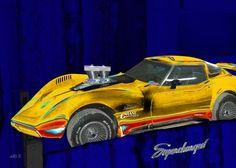 'Corvette+C3+Supercharged+in+blue+&+yellow+mix'+von+Arthur+Huber+bei+artflakes.com+als+Poster+oder+Kunstdruck+$20.79