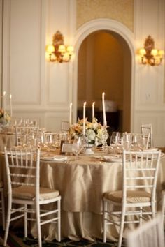 Champagne-Ballroom-Reception-- love the champagne table cloths