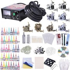 AW Complete Tattoo Kit 8 Machine 40 Inks Power Supply 10 Wraps Gun Needle Grip Tip Foot Switch * Continue to the product at the image link. (This is an affiliate link) Professional Tattoo Kits, Tattoo Practice Skin, Tattoo Machine Kits, Beginner Tattoos, Rolling Makeup Case, Tattoo Power Supply, Pin Up, Beauty Salon Equipment, Popular Nail Art