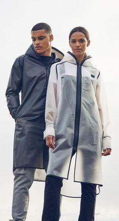 Check out the Influence Rain Jacket Transparent Black. High quality coat made of premium thermoplastic polyurethane. Rain Fashion, Cyberpunk Fashion, Raincoats For Women, Future Fashion, Rain Wear, Mode Outfits, Apparel Design, Menswear, One Piece