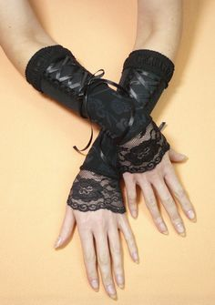 Update: I own these! :D DIY inspiration. Black Segmented Corset Tie Gloves with Lace, Armwarmers for Her, Steampunk Noir Sleeves, Gothic, Cosplay, Fingerless