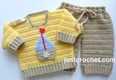 👕 ⛵ 👖 Padrão de Bebê Crochê livre para Camisola e Calças conjunto do Menino -  /  👕 ⛵ 👖 Free Baby Crochet Pattern for Boy's sweater and Pants Set -