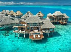 There are dozens of overwater bungalows resorts in Bora Bora, the Maldives and Fiji, but where are the luxury overwater bungalows and what price can you expect to pay? Dream Vacation Spots, Need A Vacation, Vacation Places, Honeymoon Destinations, Dream Vacations, Places To Travel, Honeymoon Ideas, Honeymoon Suite, Bora Bora Honeymoon