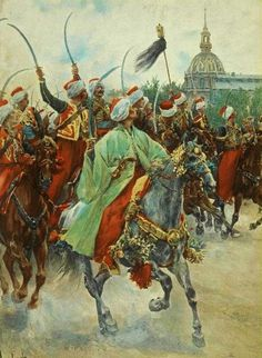Mamelukes of the Imperial Guard at the parade. The horse in the foreground carries a Turkish harness. Illustration by Felician Myrbach / Мамелюки императорской гвардии на параде. У лошади на переднем плане видна турецкая упряжь. Иллюстрация Фелициана Мирбаха.