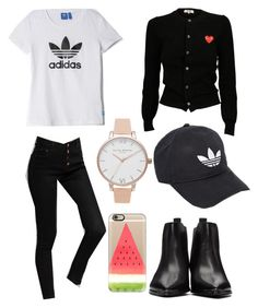 """""""Swag outfit ❤️🖤"""" by annadamr on Polyvore featuring beauty, Play Comme des Garçons, adidas, Acne Studios, Olivia Burton and Casetify"""